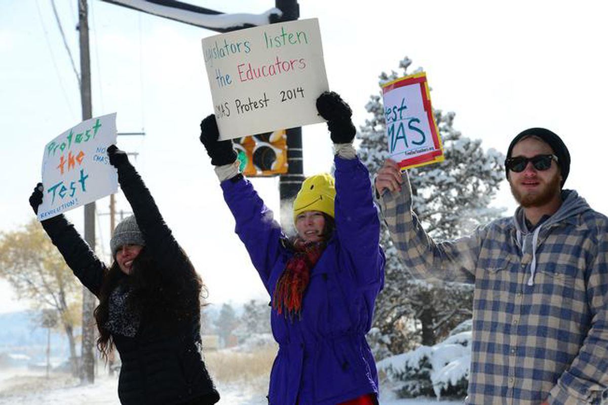 Seniors at Fairview High School in Boulder protest state tests in 2015. (Photo By Helen H. Richardson/ The Denver Post)
