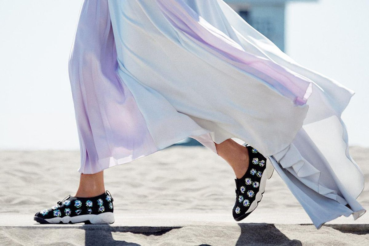 """Dior sneakers. Photo via <a href=""""http://www.marieclaire.co.uk/news/fashion/546836/christian-dior-couture-trainers-making-of-videos-and-gifs.html#index=1"""">Marie Claire UK</a>."""