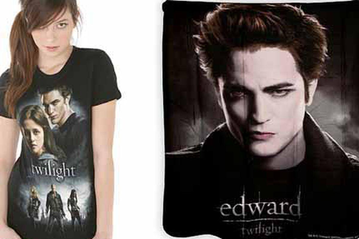 """Twilight"" t-shirt and fleece throw via <a href=""http://www.hottopic.com/hottopic/store/nodePage.jsp?FOLDER%3C%3Efolder_id=2534374302036927"">Hot Topic</a>"