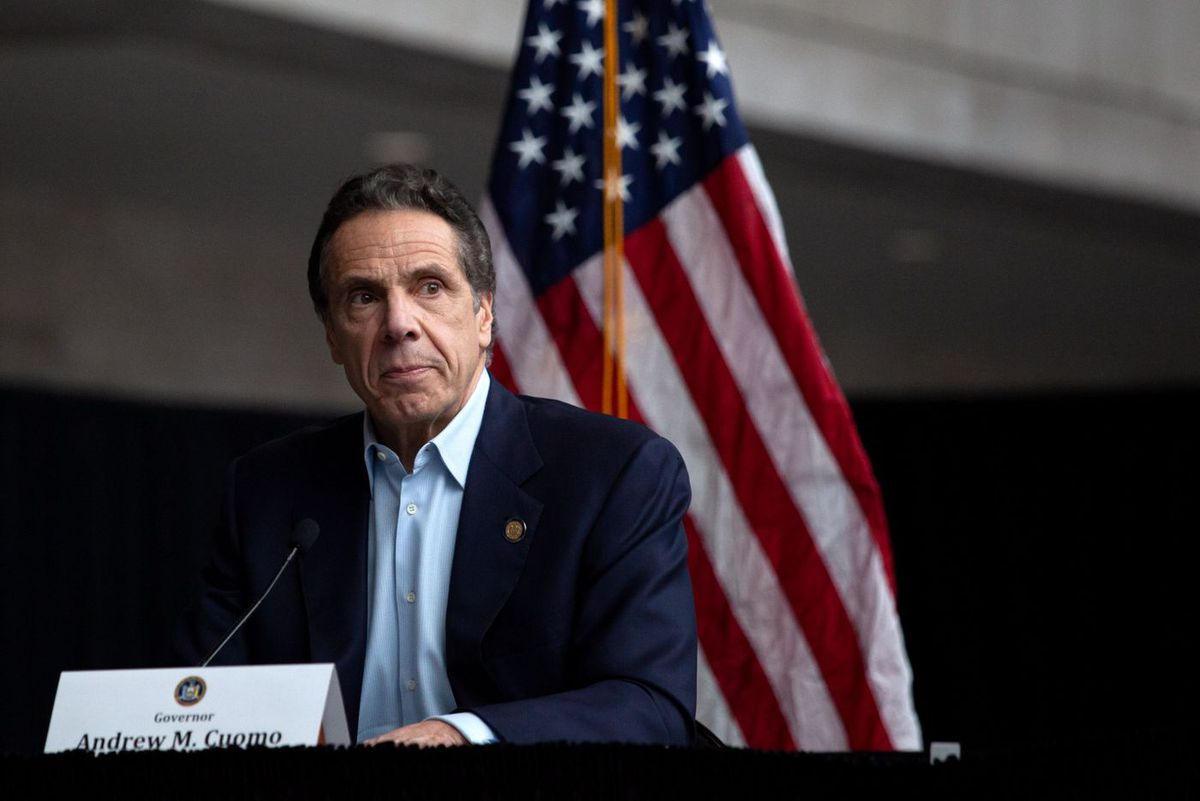 Gov. Andrew Cuomo gives a coronavirus update at the Javits Center, March 30, 2020.