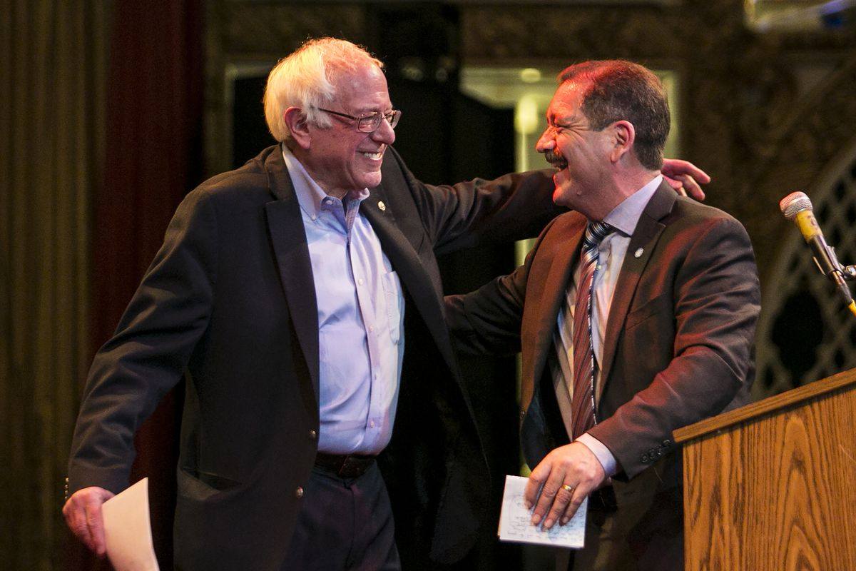 """Vermont. Sen. Bernie Sanders headlines a campaign rally for then-Cook County Commissioner Jesus """"Chuy"""" Garcia in 2018."""