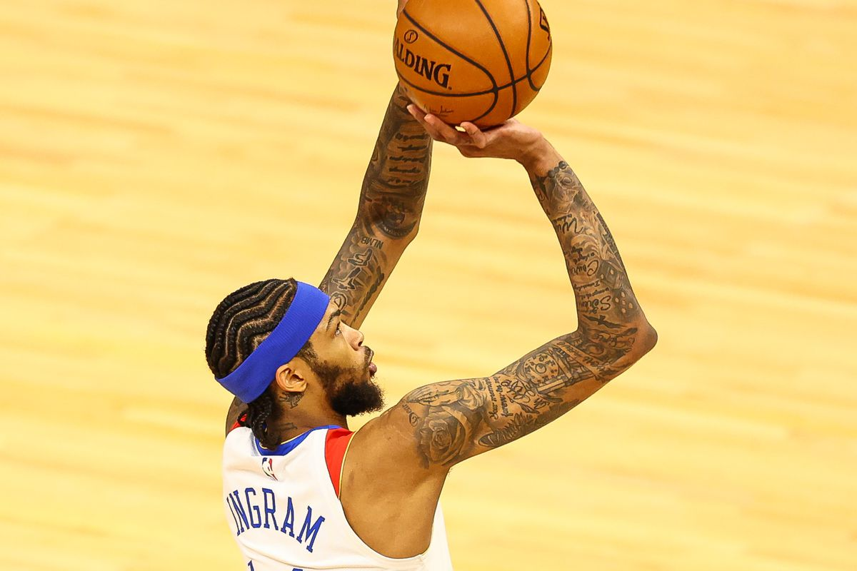 Brandon Ingram of the New Orleans Pelicans shoots the ball during the first quarter against the Minnesota Timberwolves at Target Center on May 1, 2021 in Minneapolis, Minnesota.