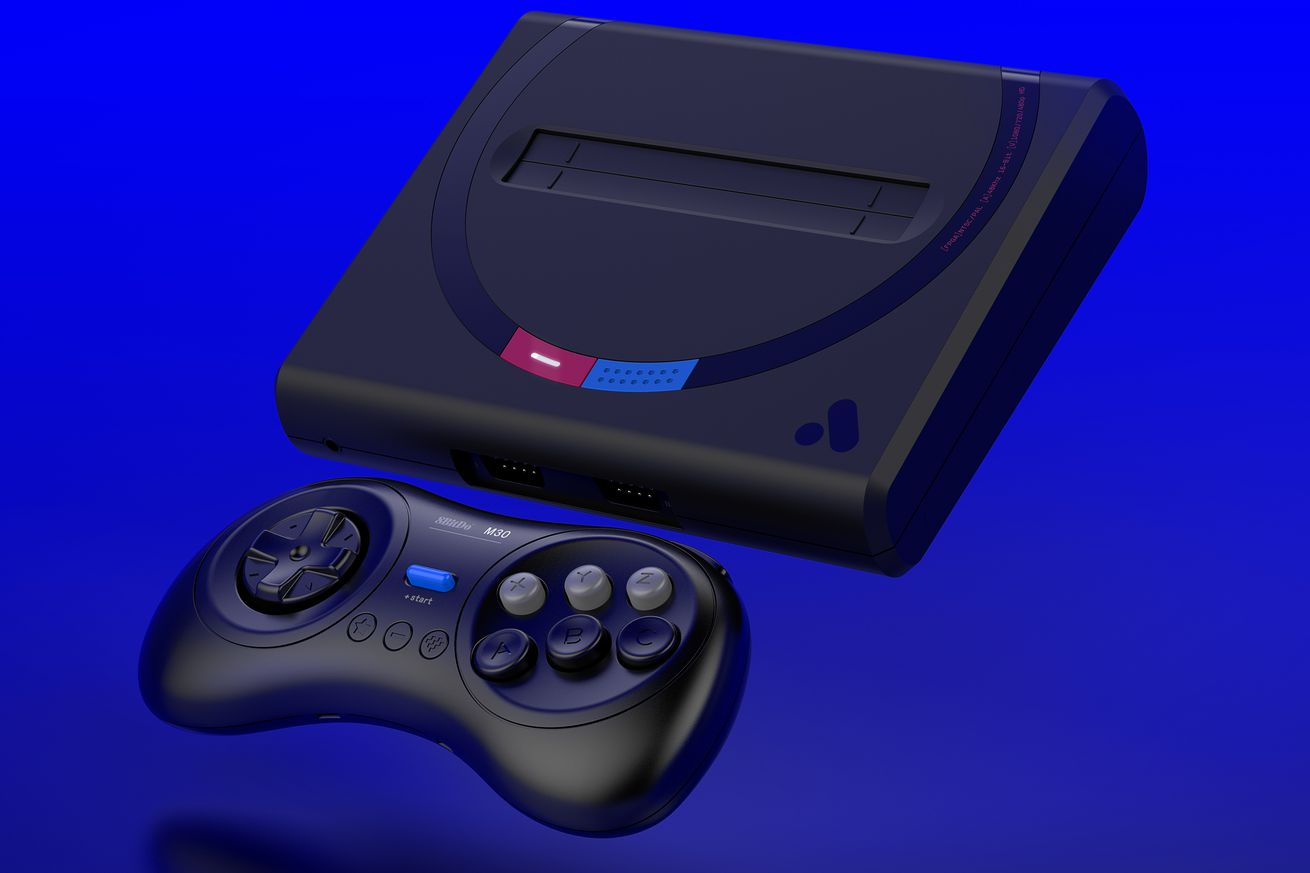 this sleek console plays old sega cartridges on your new tv