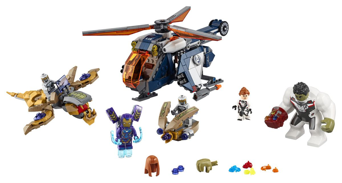 Lego figures of the Hulk, Black Widow, Chitauri warriors, and an Avengers helicopter