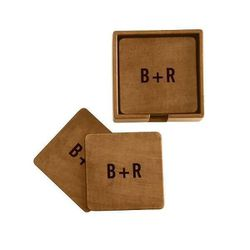 """<b>Mark & Graham</b> <a href=""""http://www.markandgraham.com/products/rustic-leather-boxed-coasters/?pkey=centertaining-barware&"""">Rustic Leather Boxed Coasters</a>, $65"""
