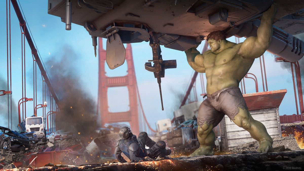Hulk prepares to crush a soldier in Marvel's Avengers