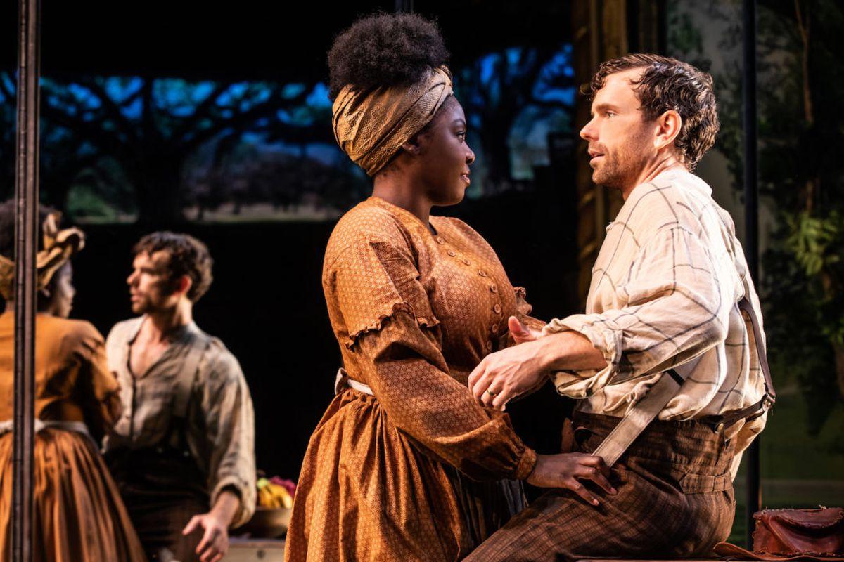 "Paul Alexander Nolan (Jim) and Joaquina Kalukango (Kaneisha) star in ""Slave Play."""