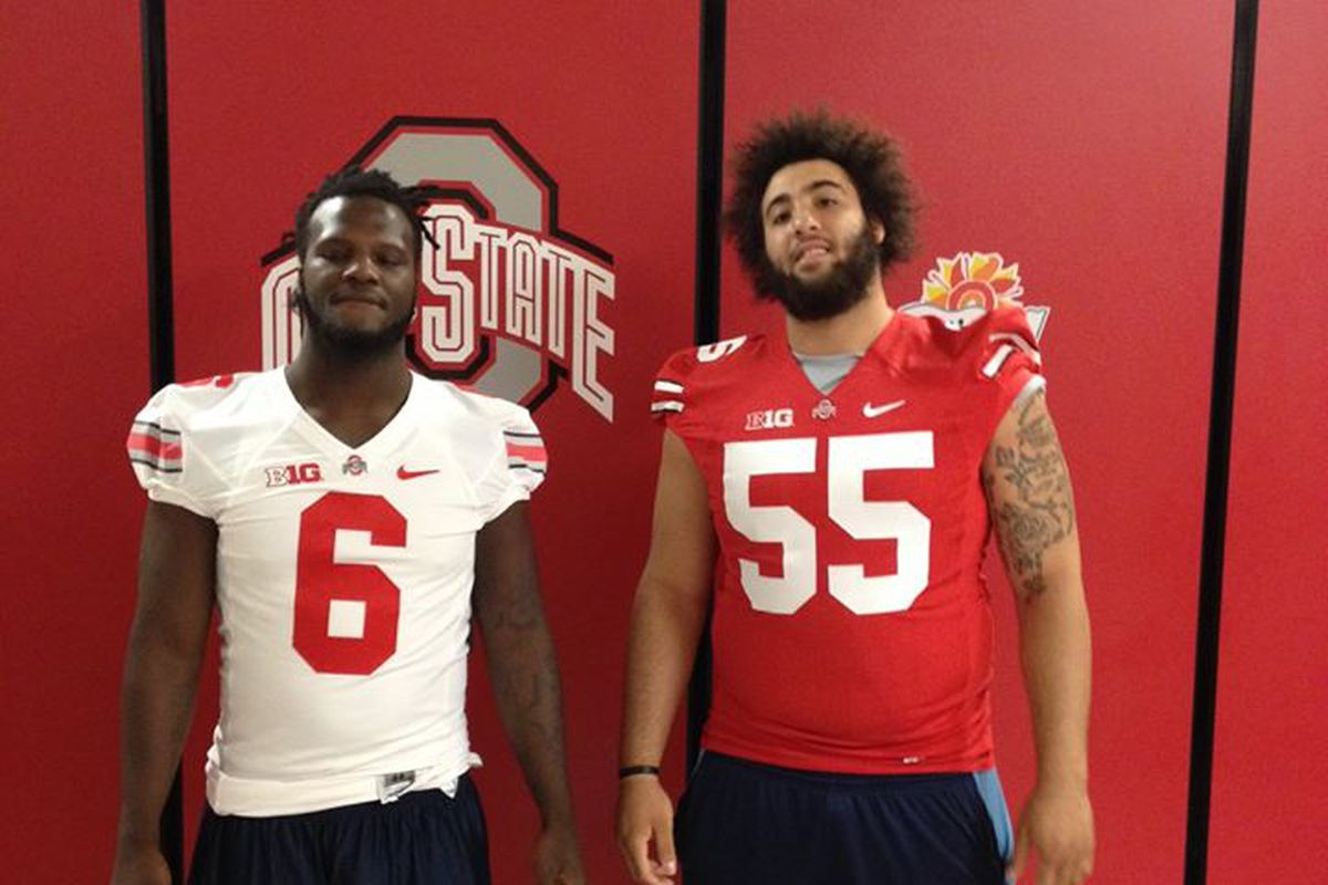 Chad Mavety (55) and teammate Keeon Virgile were just two of the recruits to check out Ohio State over the weekend.