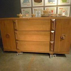 wood mid century dresser: $250