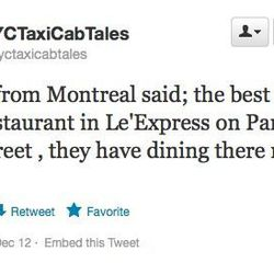 """These Canadians <a href=""""https://twitter.com/nyctaxicabtales/status/278827963099774976"""">like L'Express</a>."""
