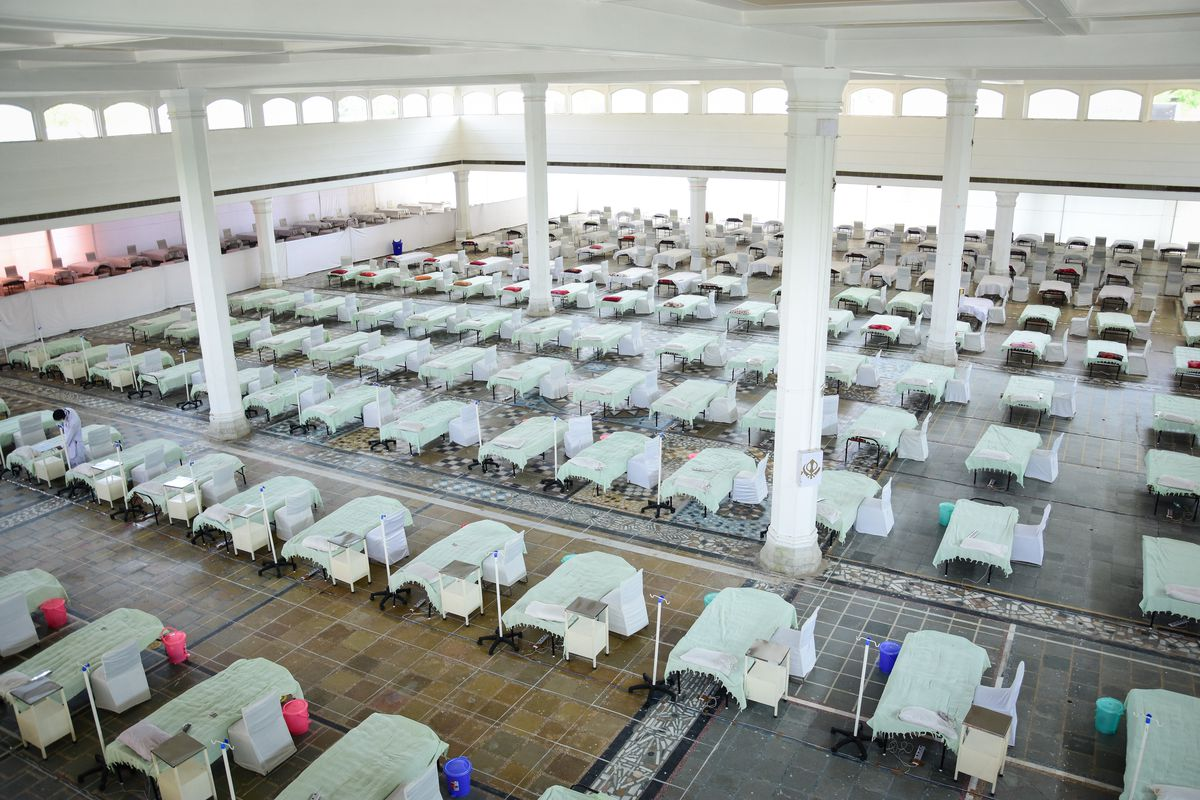 50 beds seen at a care facility for patients suffering from Covid-19 at Rakab Ganj Gurudwara in New Delhi, India.