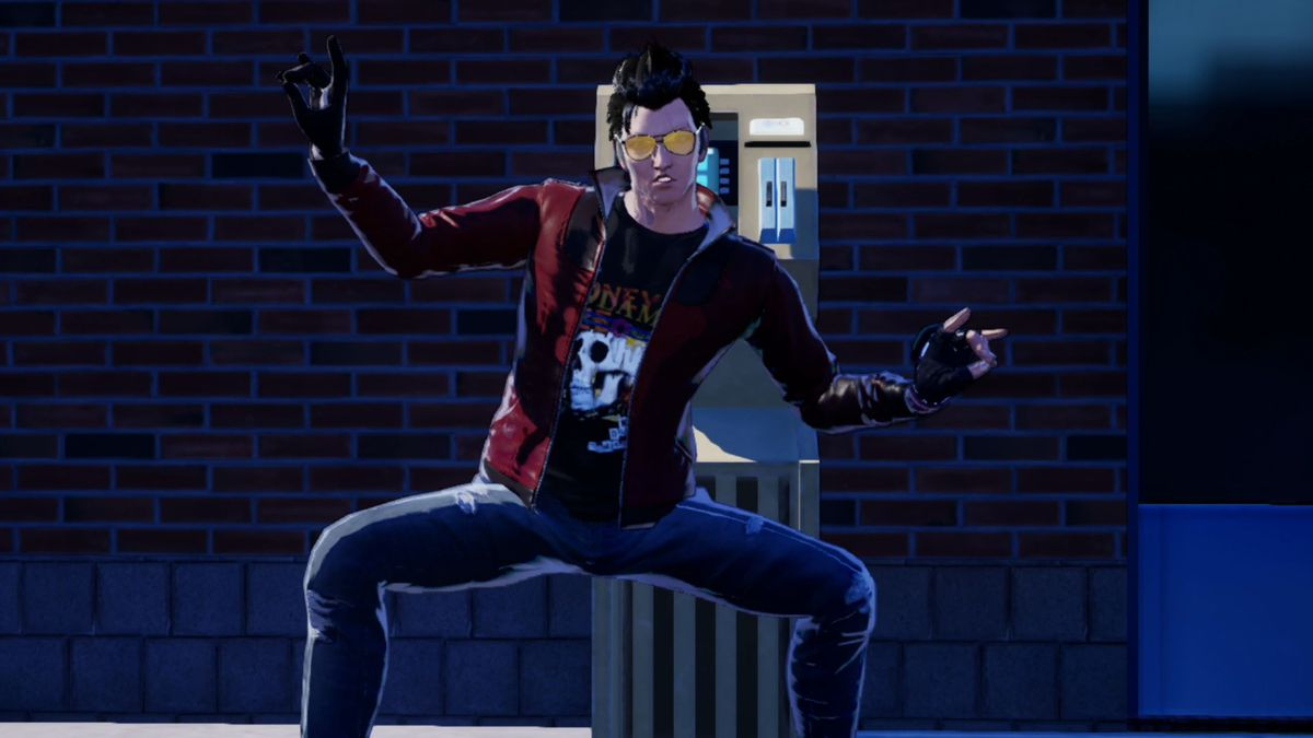 Travis Touchdown, the protagonist of No More Heroes 3, strikes a pose
