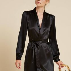 This sweet, silky robe dress is part boudoir, part party.