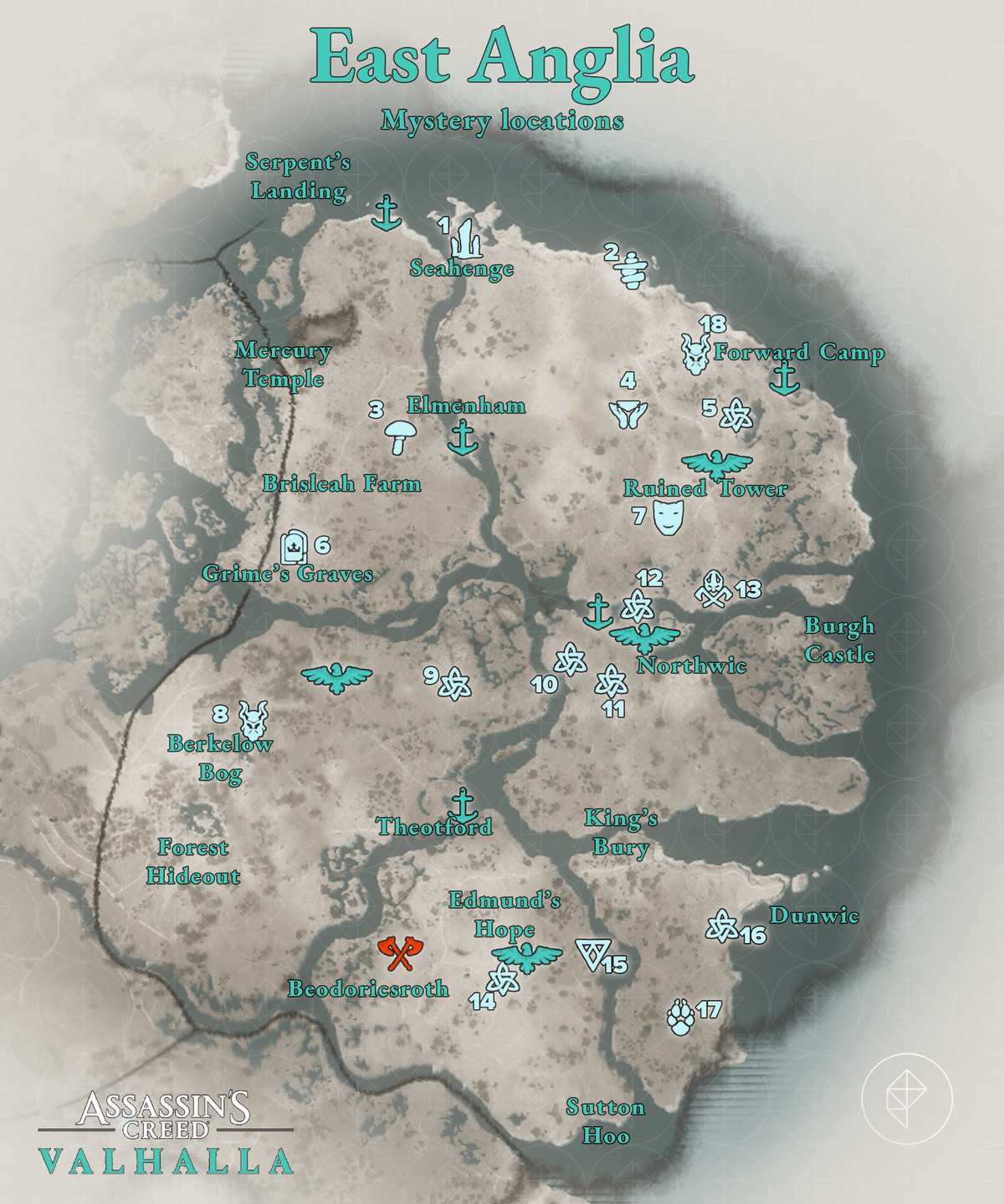 Assassin's Creed Valhalla East Anglia Mysteries locations map