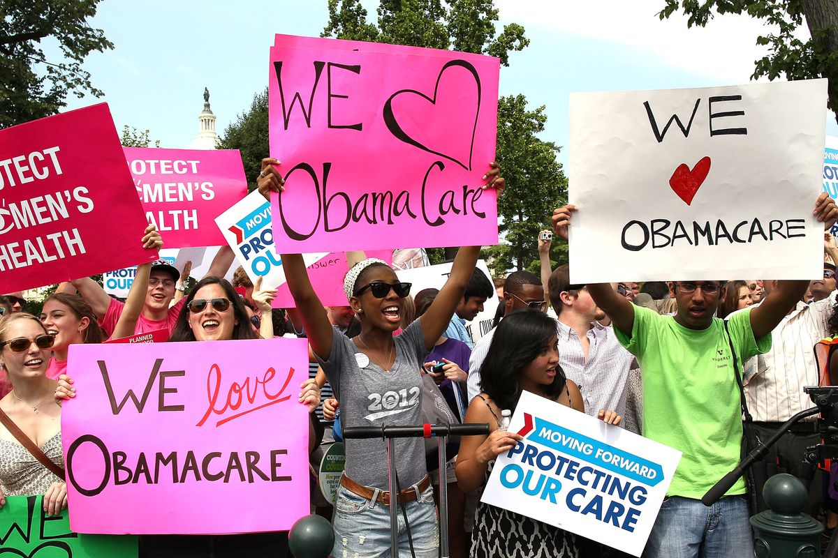 Obamacare supporters react to the 2012 Supreme Court decision that upheld the health-care law.
