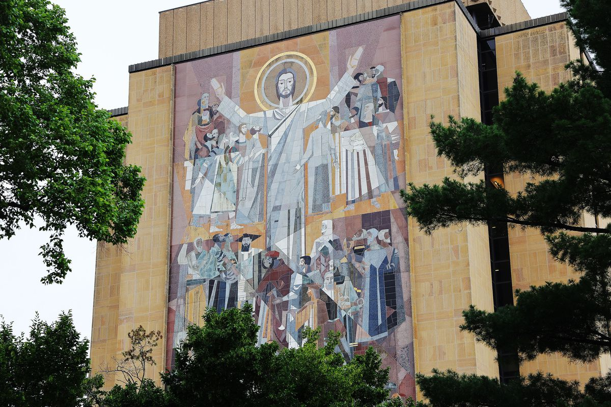 The Word of Life Mural on the Theodore M. Hesburgh Library at the University of Notre Dame in South Bend, Ind., on Monday, June 28, 2021.