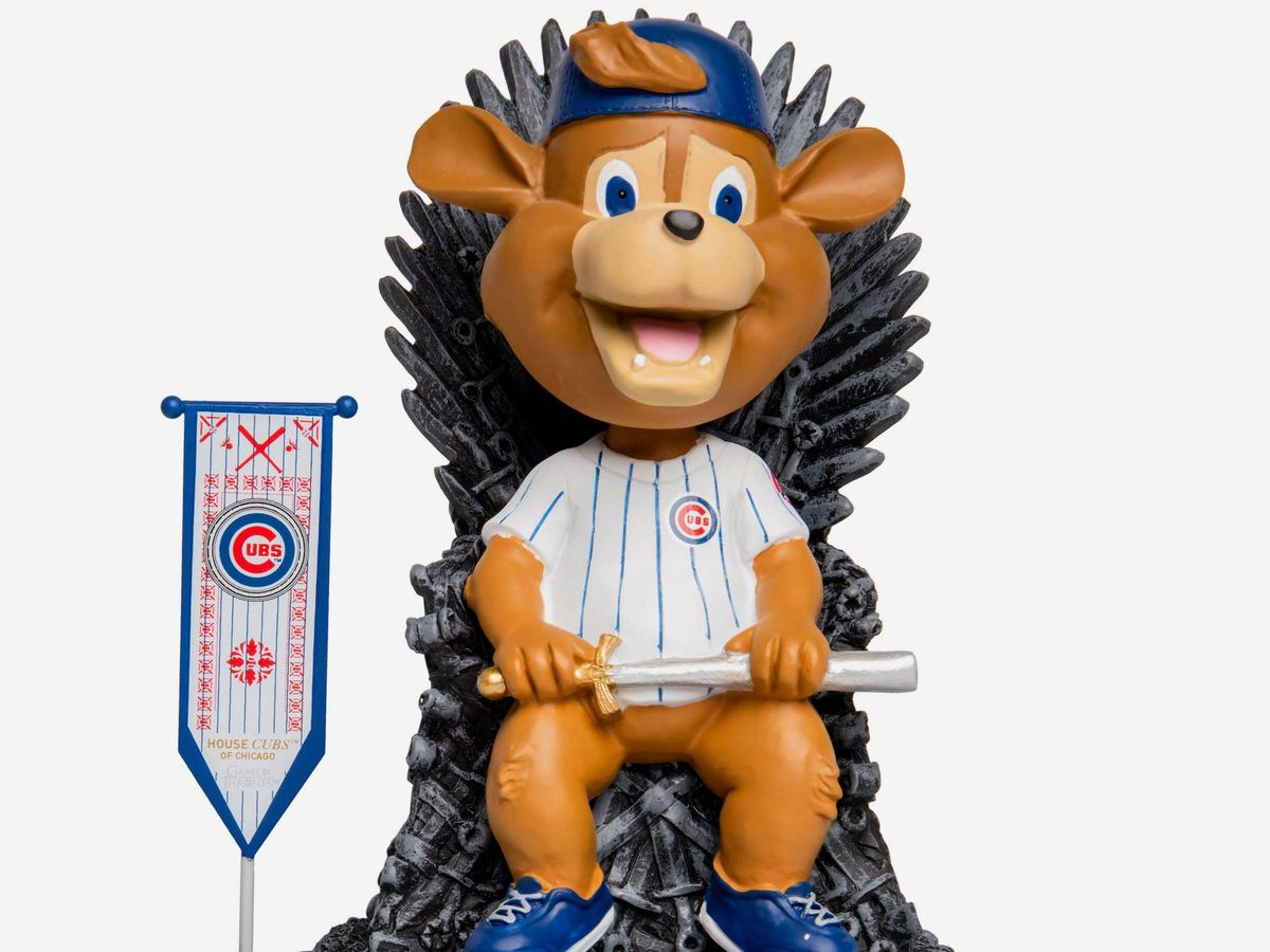 """Cubs mascot Clark takes his rightful place on the """"Game of Thrones"""" ice throne in a new series of bobbleheads by FOCO.   Copyright HBO"""