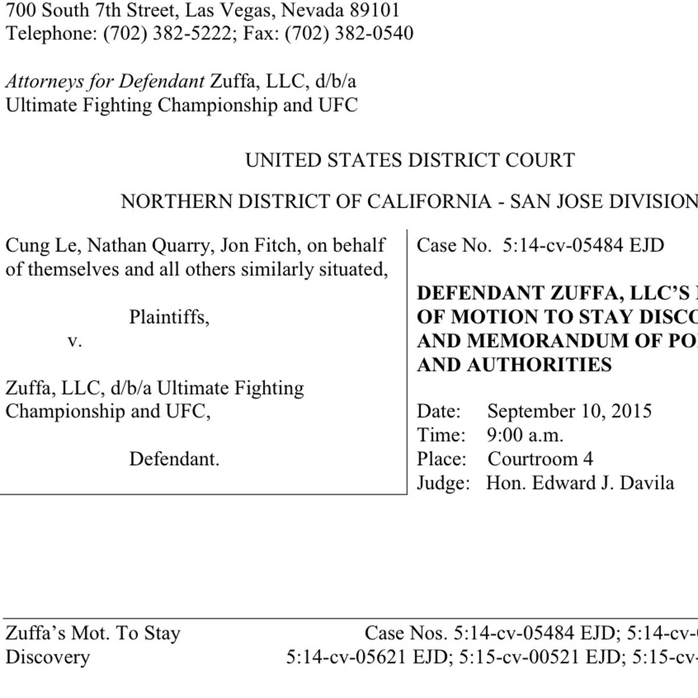 Zuffa files motion to stay discovery of '15 years of Zuffa's