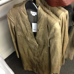 Leather trench, $475