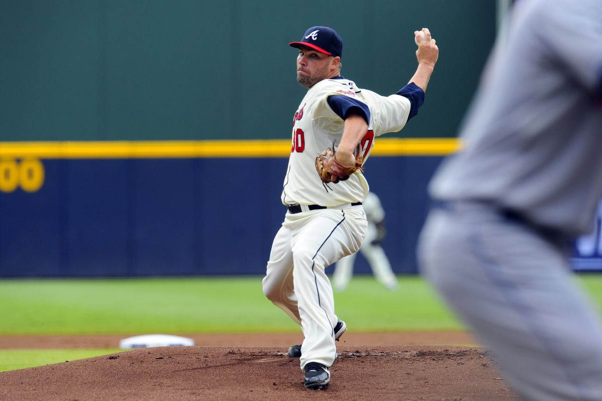July 15, 2012; Atlanta, GA, USA; Atlanta Braves starting pitcher Ben Sheets (30) pitches against the New York Mets during the first inning at Turner Field. Mandatory Credit: Dale Zanine-US PRESSWIRE