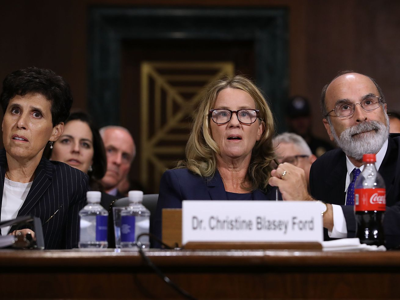 Dr. Christine Blasey Ford testifying before the Senate Judiciary Committee about her allegations against Supreme Court nominee Brett Kavanaugh in September 2018.