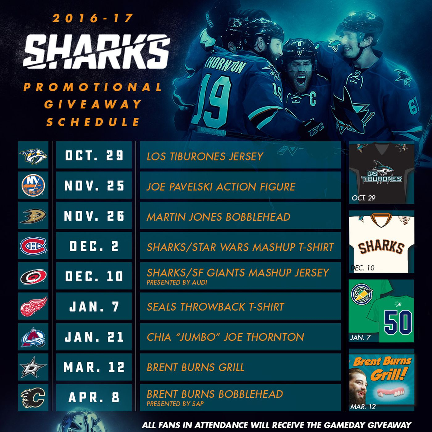 san jose sharks unveil 2016-17 promotional schedule - fear the fin
