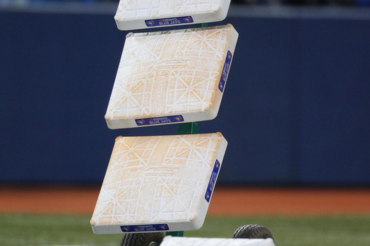 Apr 28, 2012; Toronto, ON, Canada; The bases rest on a dolly before the Seattle Mariners game against the Toronto Blue Jays at the Rogers Centre. The Blue Jays beat the Mariners 7-0. Mandatory Credit: Tom Szczerbowski-US PRESSWIRE