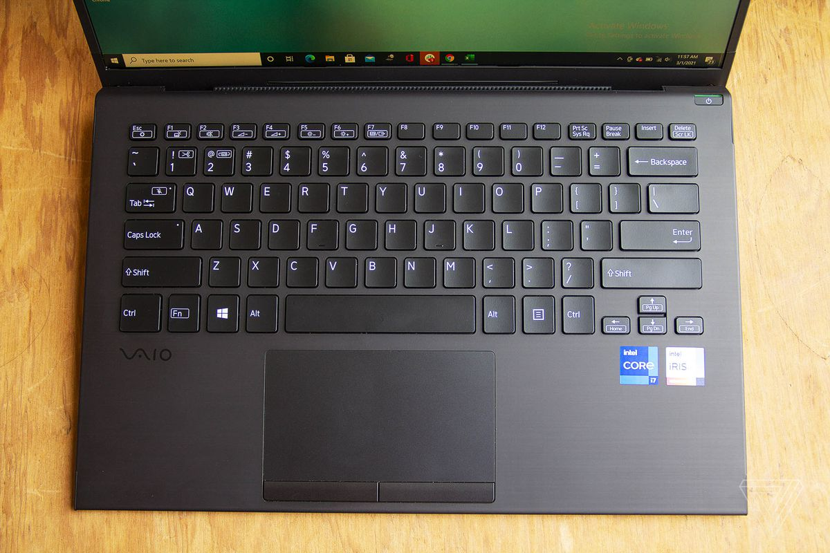 The Vaio Z keyboard seen from above.