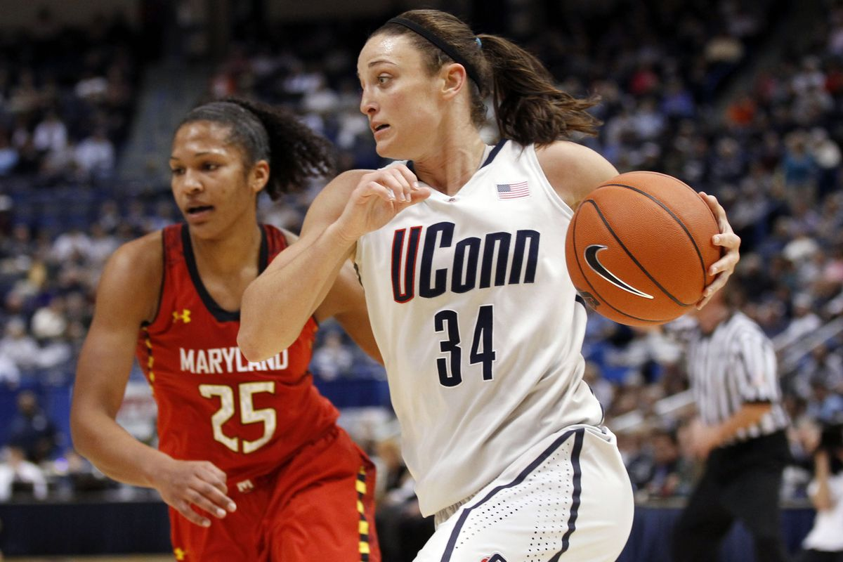 Connecticut Guard Kelly Faris (front) could be playing for the Washington Mystics in a couple months as their first round draft pick.  Maryland swingman Alyssa Thomas (back) may even be Faris' teammate in DC for 2014.  Just saying...