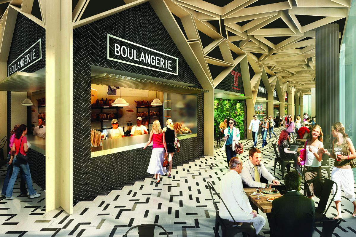 Rendering of The Lincoln Eatery, a food hall in miami beach
