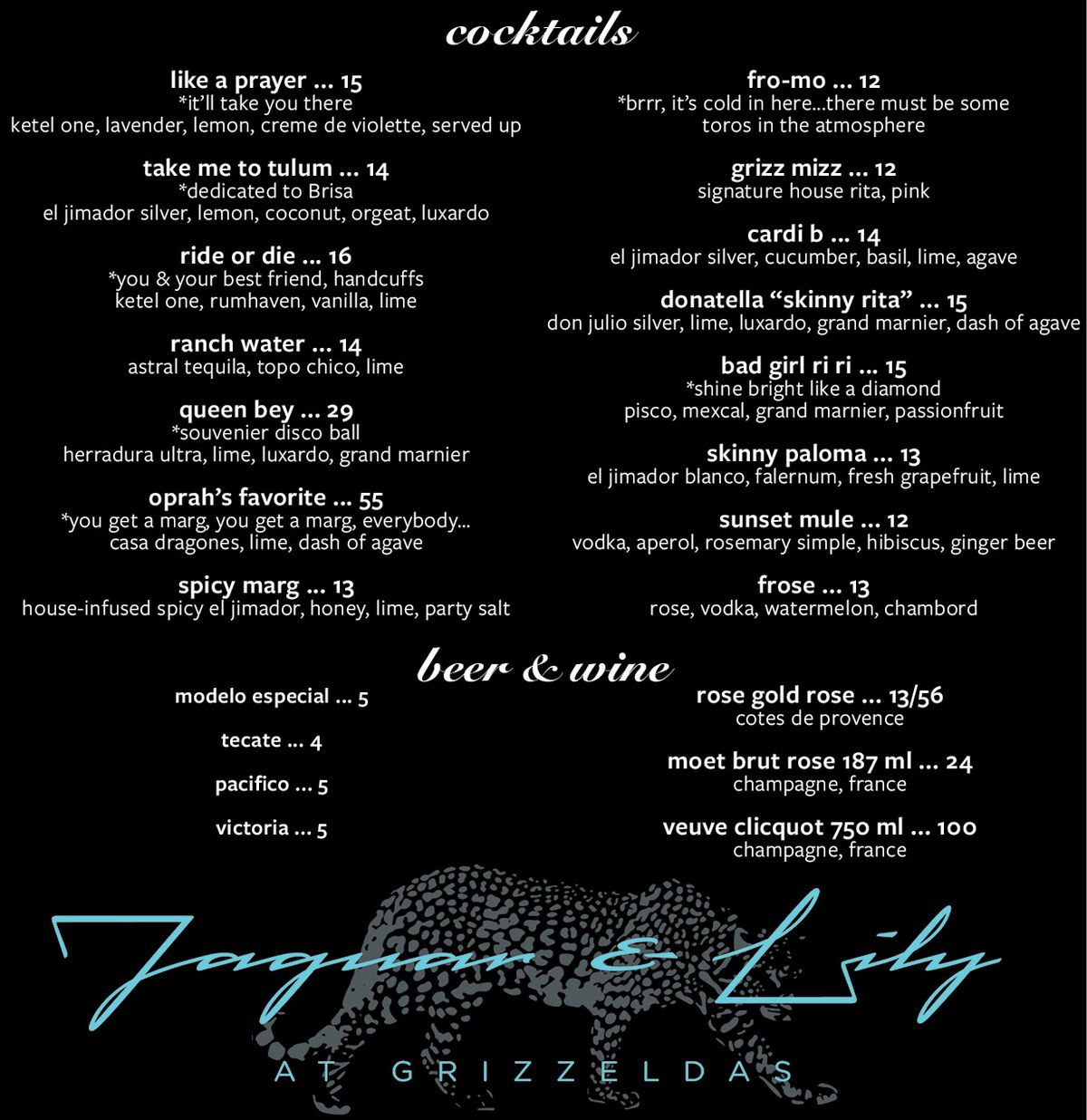 The menu for Jaguar and Lily