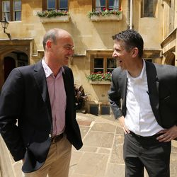 Utah Valley University President Matthew Holland, right, laughs with colleague Eamonn Molloy during his sabbatical at Pembroke College, Oxford University, England, on June 14, 2017.
