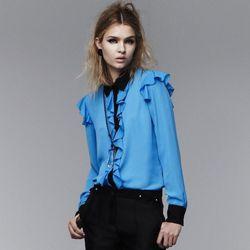 Ruffle blouse in Dresden Blue/black, $34.99