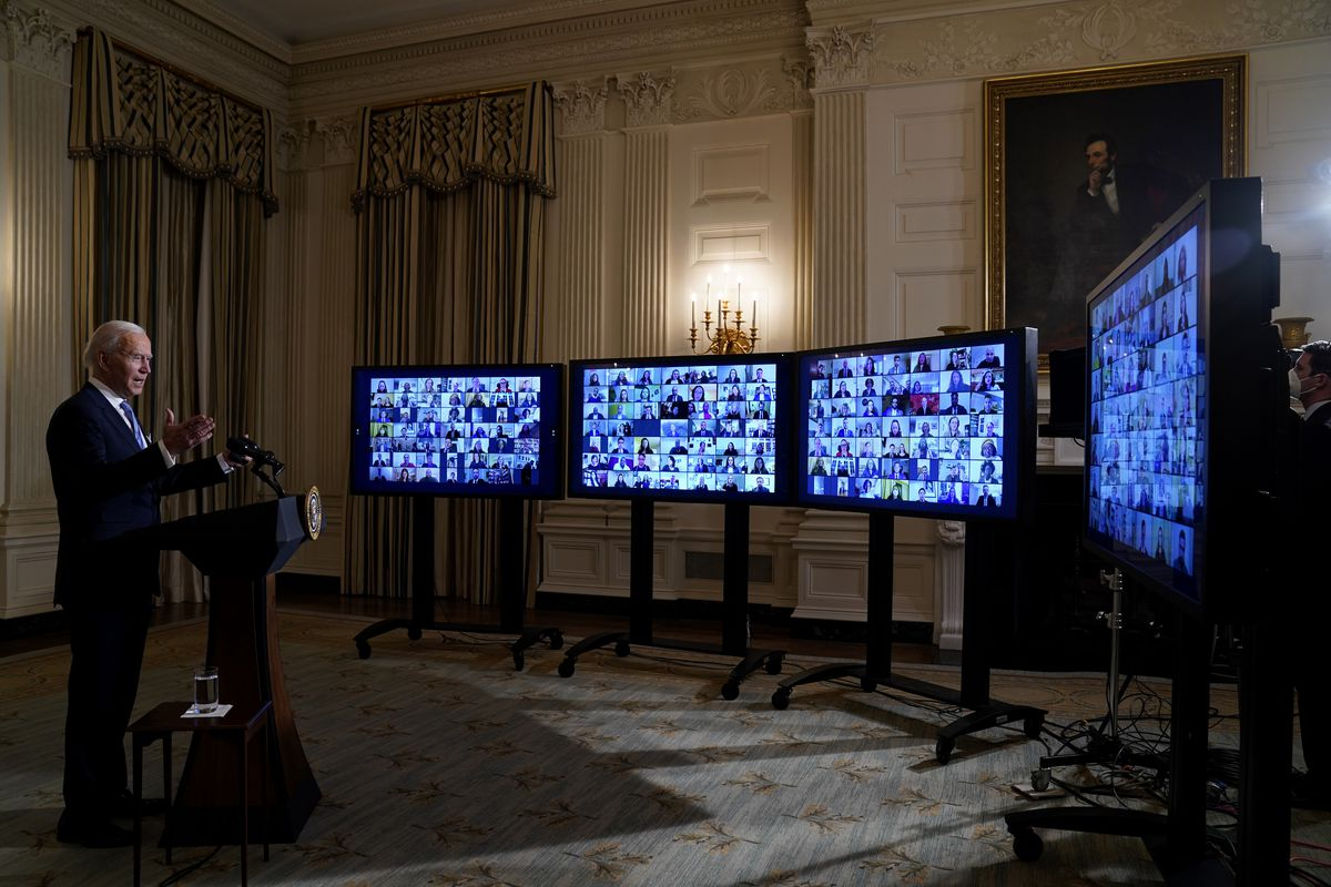 President Joe Biden speaks during a virtual swearing in ceremony of political appointees from the State Dining Room of the White House in Washington on Jan. 20, 2021.