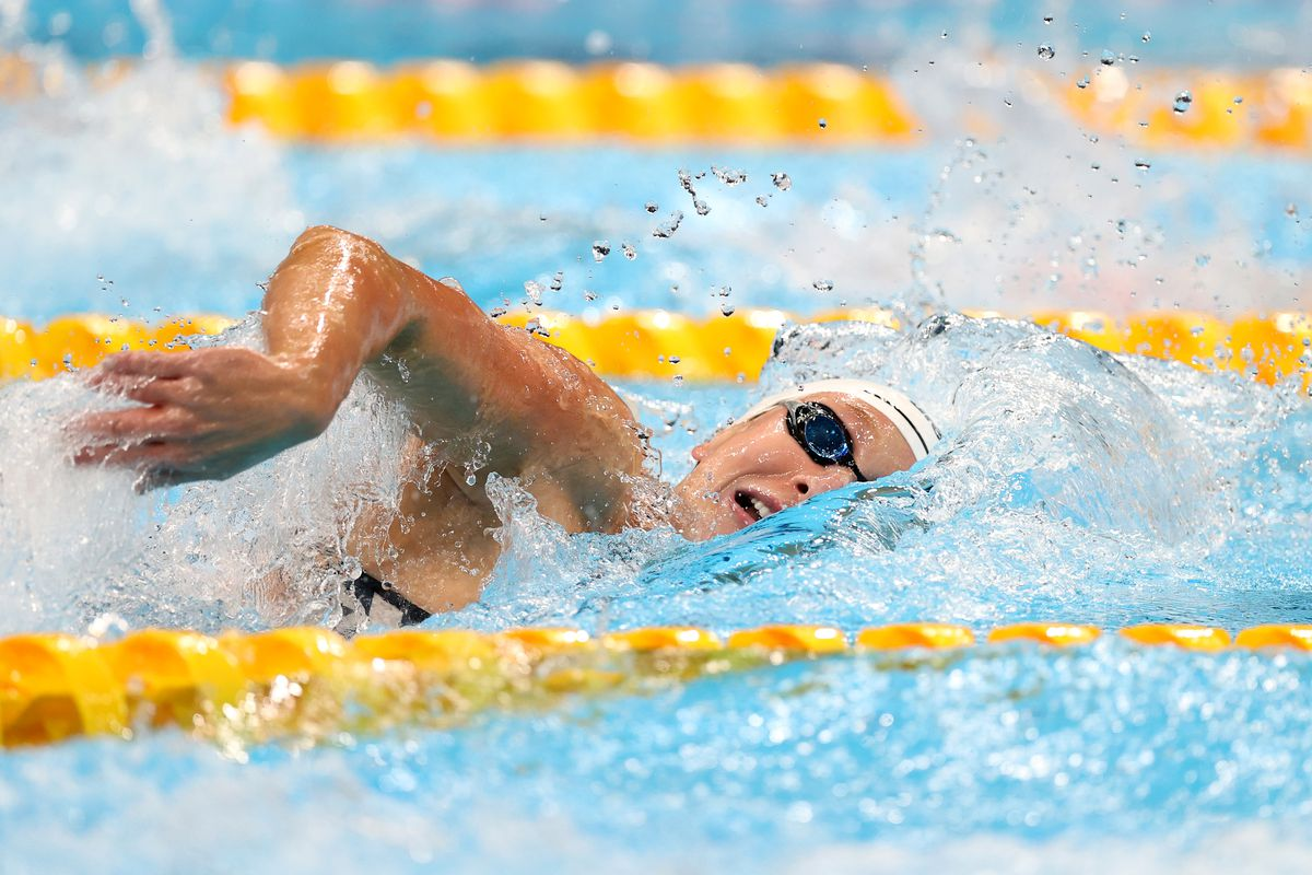 Paige Madden of Team United States competes in heat one of the Women's 4 x 200m Freestyle Relay on day five of the Tokyo 2020 Olympic Games at Tokyo Aquatics Centre on July 28, 2021 in Tokyo, Japan.