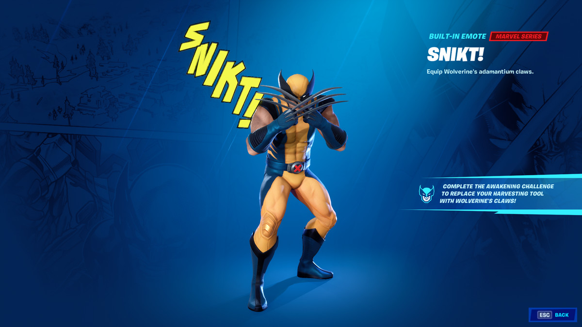 Fortnite's Wolverine skin with its claws out emote