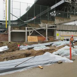 Wider view of the left-field corner