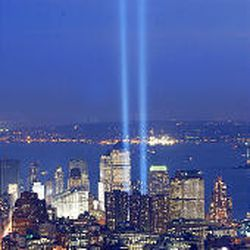 """Twin beams of light form the """"Tribute in Light"""" at the World Trade Center site on the second"""