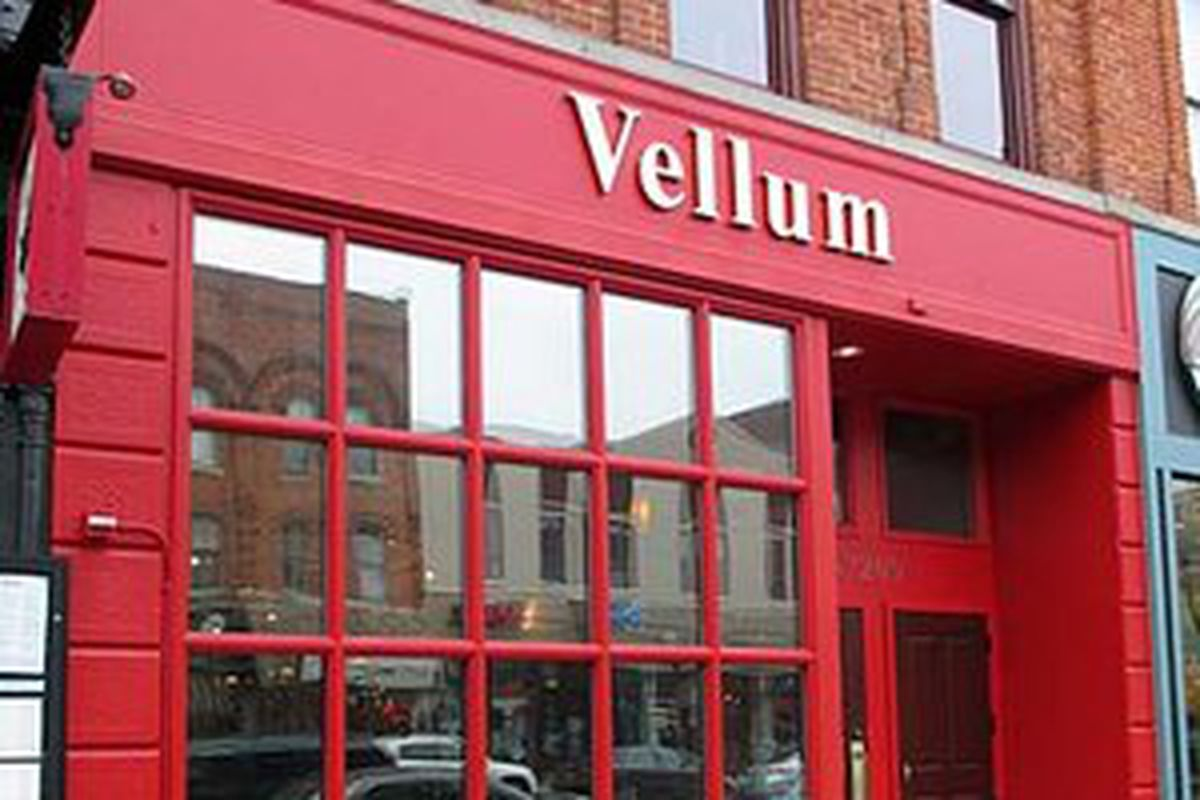 Vellum shutter in January 2015. Diamond Jim Brady's recently purchased the space for a new Ann Arbor location.