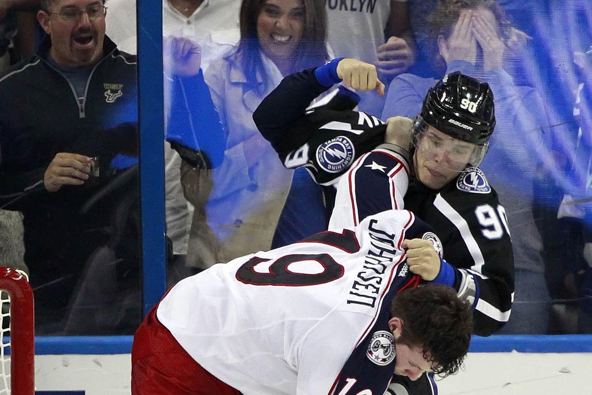 Tampa Bay's Vladislav Namestnikov fights Ryan Johansen of Columbus during the Lightning's 5-2 win Saturday night in Tampa.