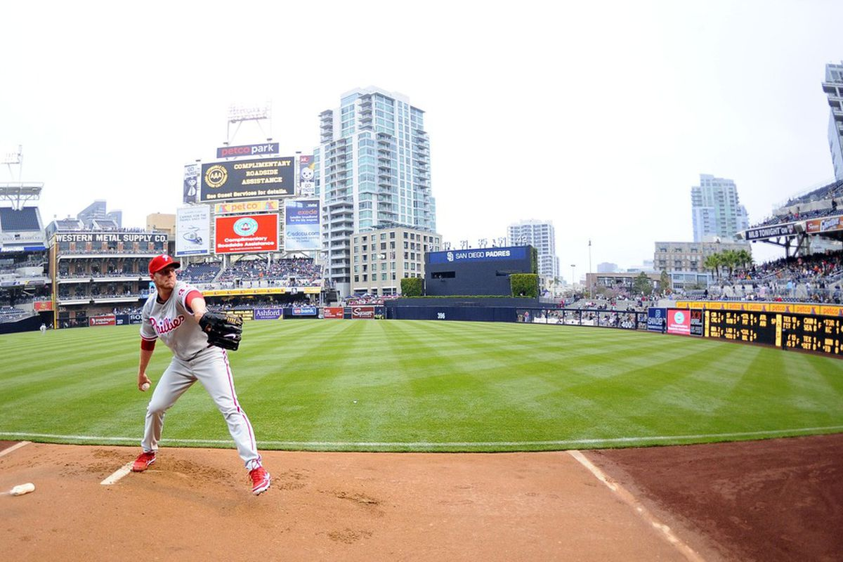 April 21, 2012; San Diego, CA, USA;  Philadelphia Phillies starting pitcher Roy Halladay (34) warms up in the bullpen prior to the game against the San Diego Padres at Petco Park.  Mandatory Credit: Christopher Hanewinckel-US PRESSWIRE