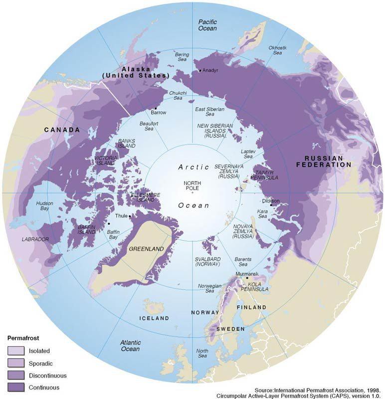 A graphic showing the distribution of permafrost regions in the Arctic.