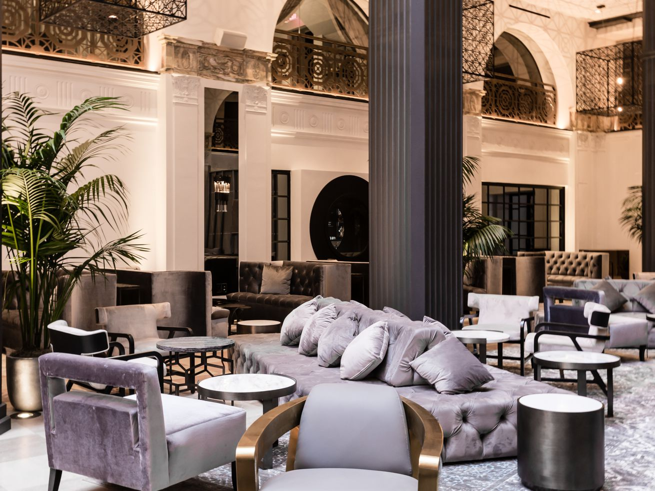 The lobby area of the renovated Mayfair Hotel