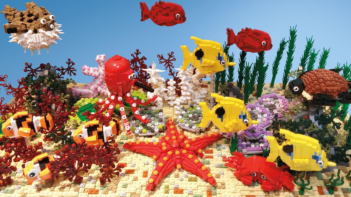 Andy Hung Chi Kin's 2014 piece, Aquarium, uses around 8,000 pieces.