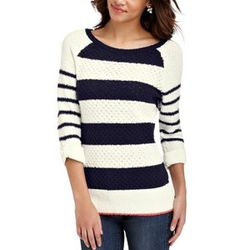 """<b>LOFT</b> Striped Roll Sleeve Sweater, <a href=""""http://www.loft.com/loft/product/product%3A292737/LOFT-promo-bucket-spring-1-exclusions/Stripe-Roll-Sleeve-Cotton-Sweater/292737?colorExplode=false&skuId=12911066&catid=cat380002&productPageType=search&def"""
