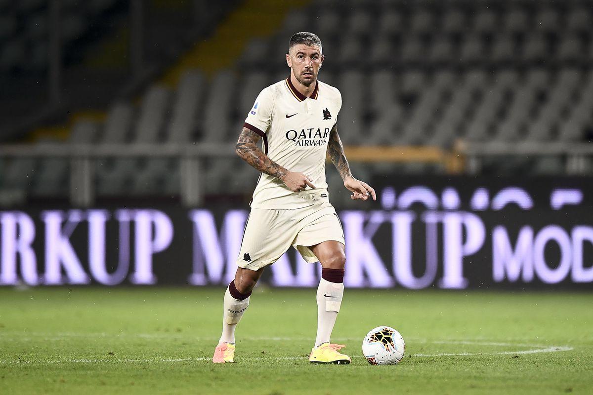 Aleksandar Kolarov of AS Roma in action during the Serie A...