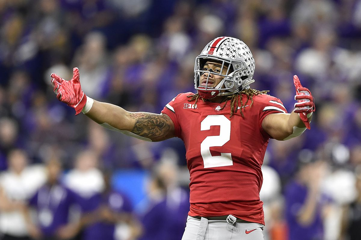 Ohio State Buckeyes defensive end Chase Young reacts after getting the sack against the Northwestern Wildcats during the Big Ten championship game on December 1, 2018 at Lucas Oil Stadium in Indianapolis, Indiana.