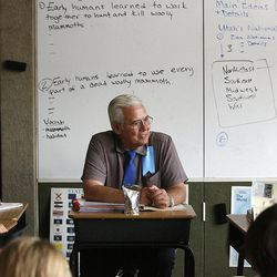 In this file photo, Principal Chuck Weber chats with fifth-graders at the Soldier Hollow Charter School in Midway on Sept. 15, 2011. Weber is now being investigated for sexual abuse of students over the past 35 years.