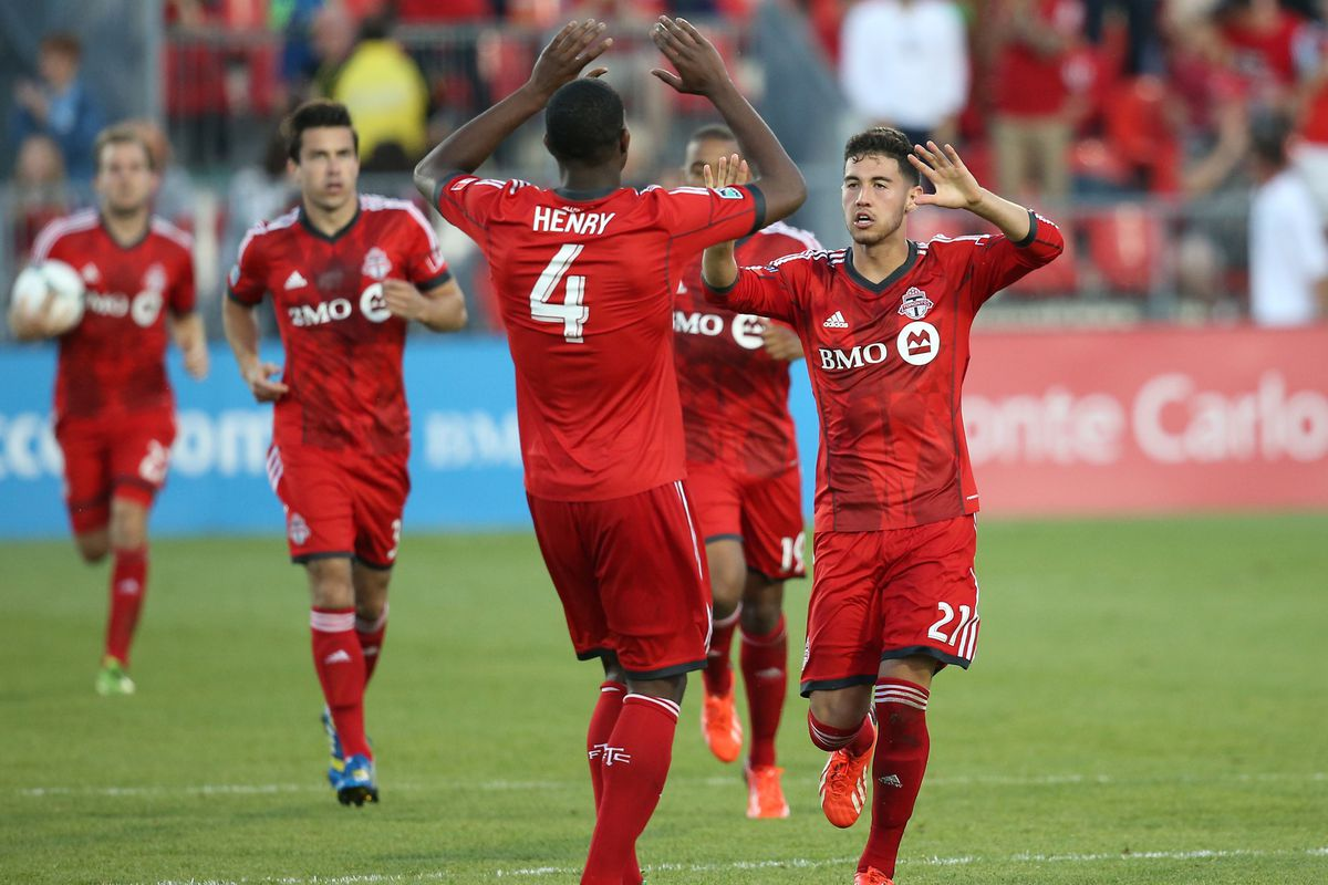 The Double High Five, Nice! Henry and Osorio celebrates the latter's goal when Seattle visited BMO in 2013