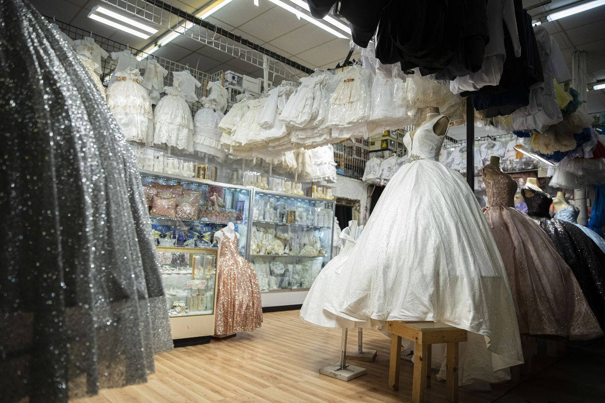 Dresses for quinceaneras and baptisms are on display at the Discount Mall, 3115 W 26th St. in Little Village.